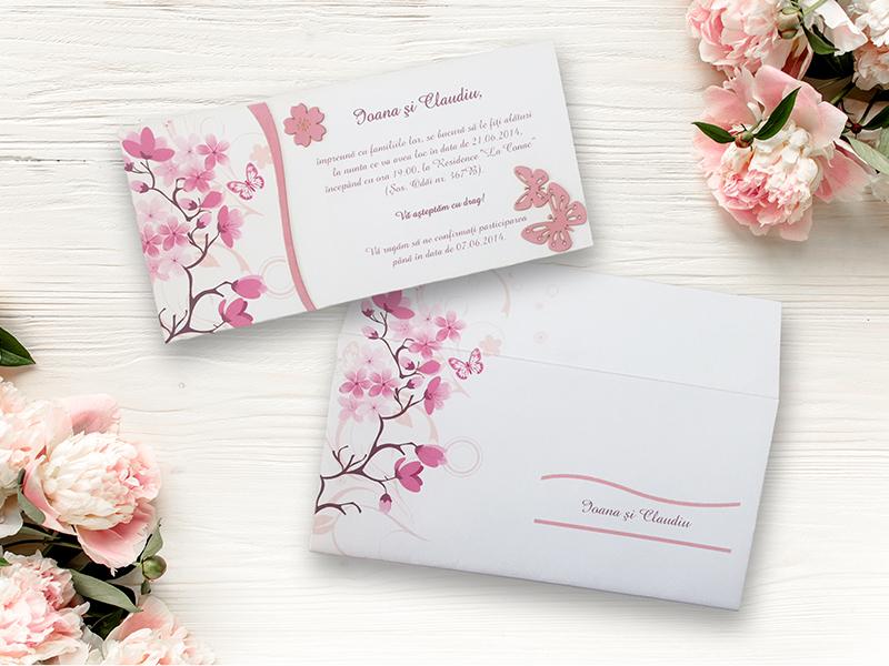 Invitatii Nunta Primavara Flori De Cires Cod 040