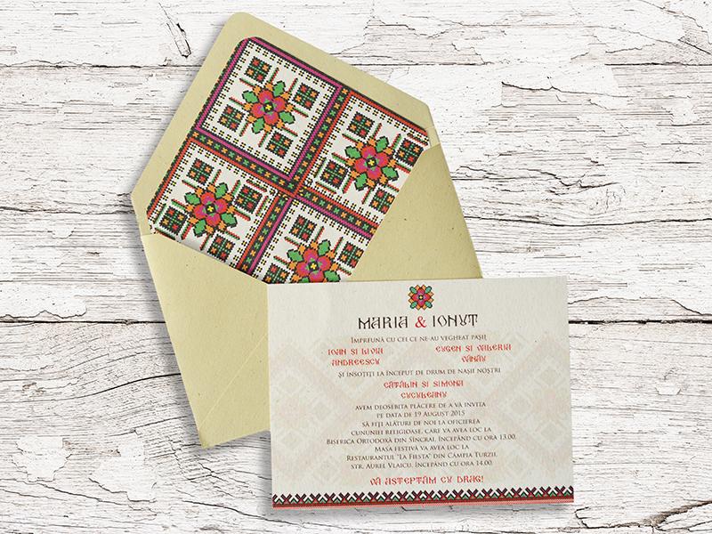 Invitatie Nunta Motive Traditionale Cod 074 Gravatro