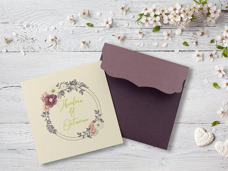 Invitatie Nunta Coronita Cu Flori Gravatro