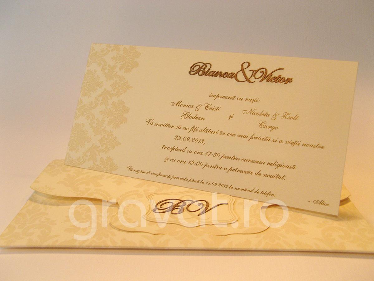 Invitatie Nunta Bianca Victor Cod Ip023 Gravatro