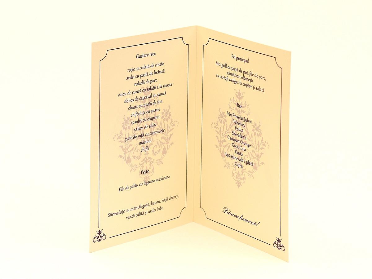 Meniu Nunta Imprimat Cu Numar De Masa Gravatro