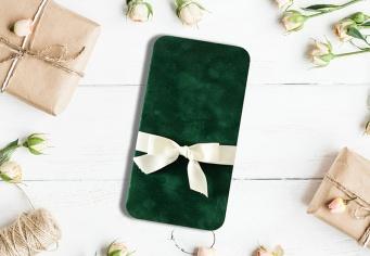 Invitatie de nunta cu funda din material textil
