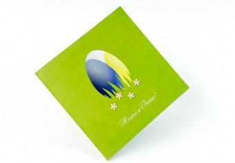 Felicitare paste cu oua decupat laser si oua rosii imprimate
