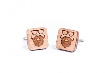 Butoni lemn personalizati cu mustata
