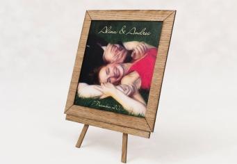 Invitatie nunta tip tablou cu rama din lemn