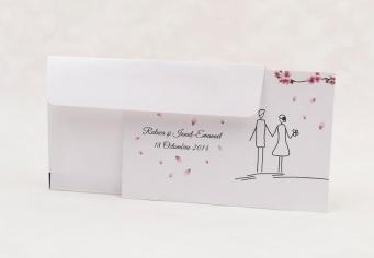 Invitatie nunta cu flori de cires si plic inclus in pret