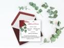 Invitatie de nunta personalizata cu flori rosii