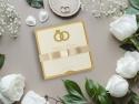 Invitatie glitter cu funda textila realizata manual