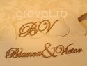 Blazon BV si nume Bianca si Victor decupate si aplicate