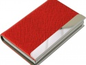 Port card metalic imbracat in piele