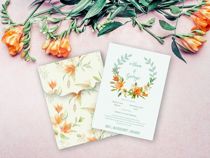 Invitatie de nunta cu frezii
