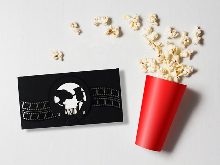 Invitatie tematica Cinema pentru nunta