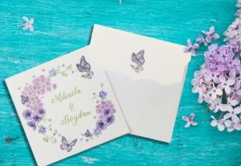 Invitatie de nunta cu fluturasi si flori de liliac