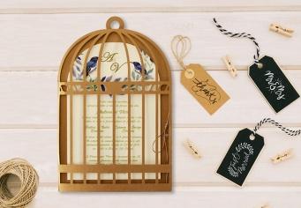 Invitatie de nunta colivie de porumbei