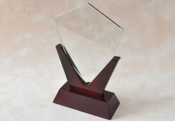 Trofeu din lemn si sticla