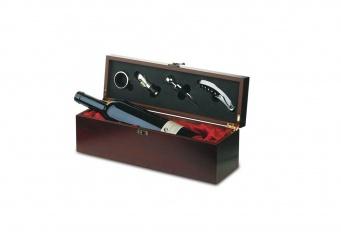 Cutie lemn pentru sticla de vin cu accesorii