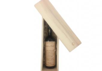 Sticla cu furnir gravat in cutie lemn natur